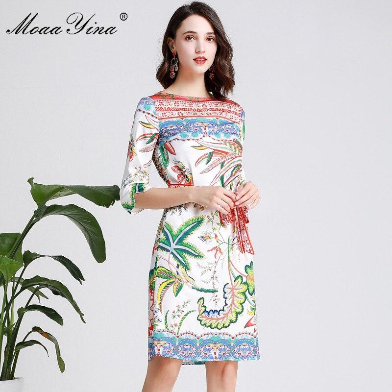 MoaaYina Mode Designer Runway kleid Frühling Sommer Frauen Kleid Halbe hülse Floral Print Urlaub Kleider-in Kleider aus Damenbekleidung bei  Gruppe 2