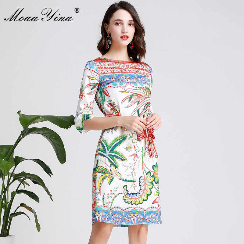 MoaaYina ファッションデザイナー滑走路ドレス春夏女性は五分袖花柄ホリデードレス