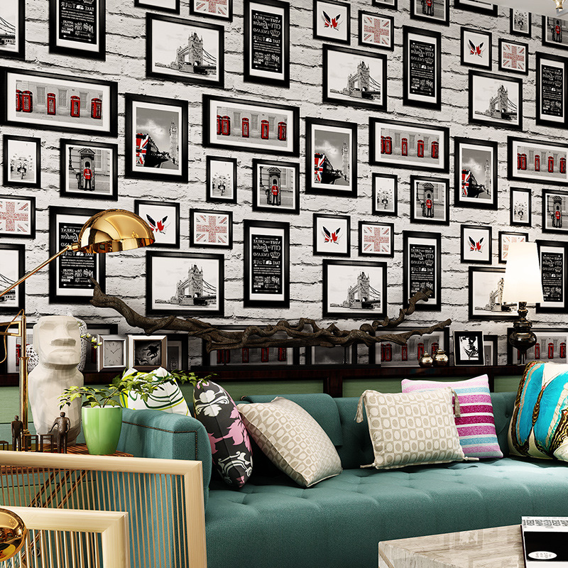 beibehang Modern British Style White Brick Wallpaper Simulation Frame Photo Wallpaper Living Room Sofa Background Wallpaper мозаика l antic colonial frame brick light 10x20 28 5x31 1