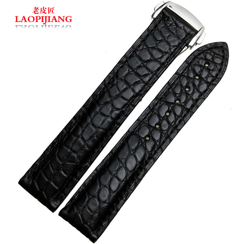 Luxury duty Genuine crocodile leather hand strap fit speedmasters butterfly buckle logo men 19mm 20mm 22mm black brown watchbandLuxury duty Genuine crocodile leather hand strap fit speedmasters butterfly buckle logo men 19mm 20mm 22mm black brown watchband