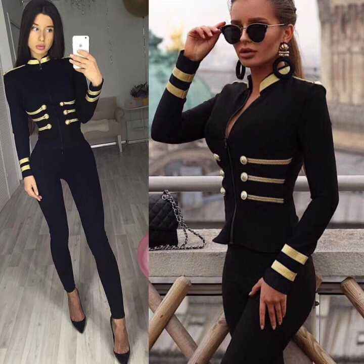 Elegant high quality sexy women 2019 black round neck long sleeve two piece set sleeveless Bodycon Bandage Jumpsuits wholesale