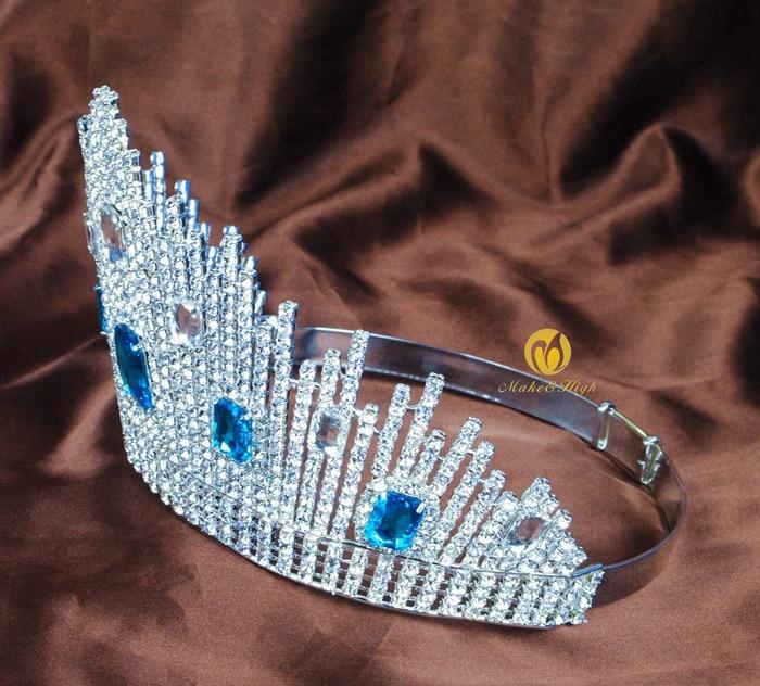 Mavi Kristal Miss Universe Səhifəli Tiaras Böyük Taclar Clear - Moda zərgərlik - Fotoqrafiya 5
