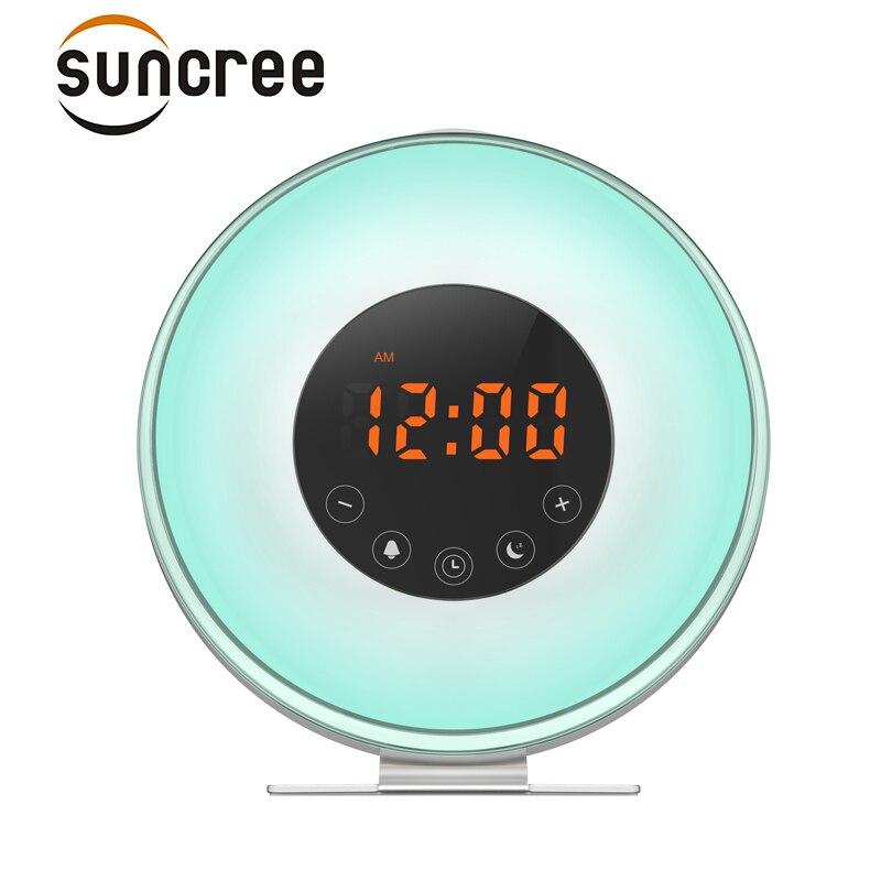 Aufwachen Licht Wecker, Sonnenaufgang Simulation Wecker Mit 6 Natur Sounds, FM Radio, Snooze & sonnenuntergang Funktion, 7 Farbe LED-Licht