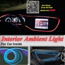 Novovisu для Mitsubishi Mirage attrage салона окружающий свет Панель освещения для автомобиля внутри круто полосы света оптический Волокно