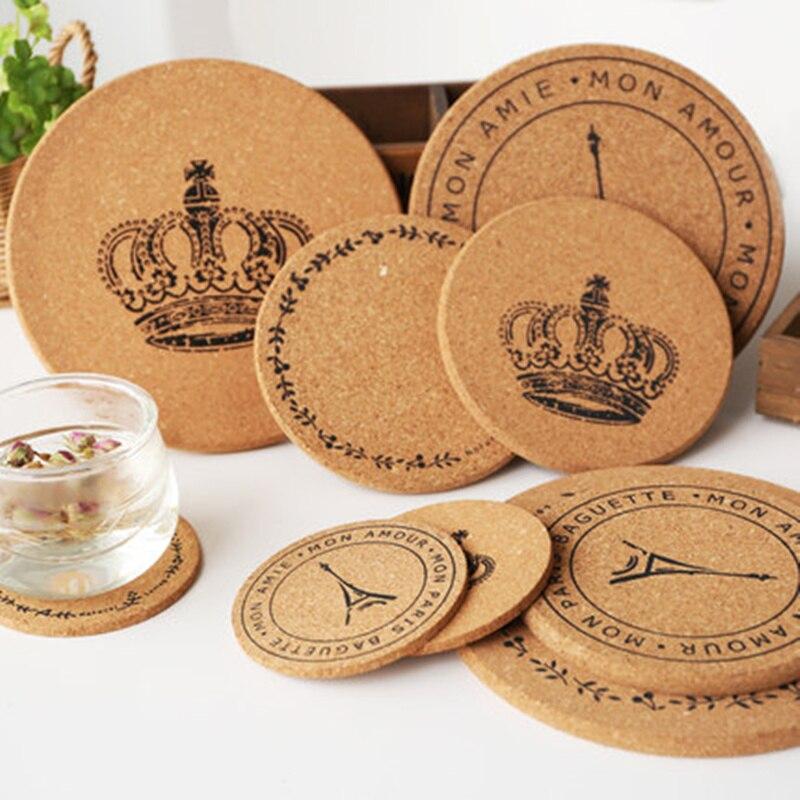 Kitchen Accessories Brands: 5pcs Cute Cartoon Insulation Pad Tea Coffee Cup Mat Wood