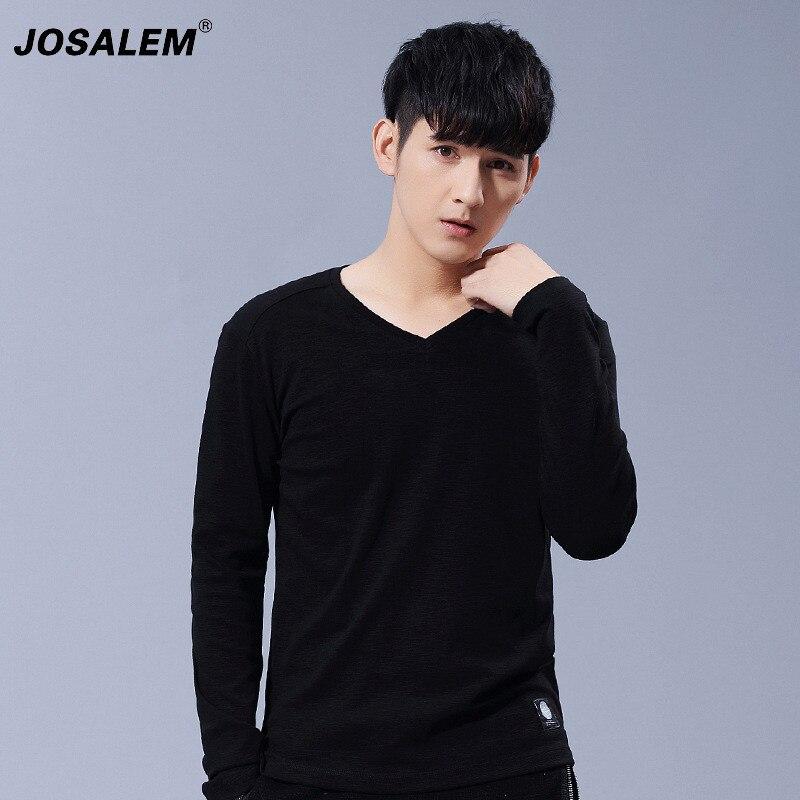 JOSALEM Plus Size Mężczyźni Solidna Bawełna Z Długim Rękawem T-shirt 2017 Nowy Casual V Neck T Shirt Człowiek Slim Fit Z Długim rękawem Koszulki Topy 4xl