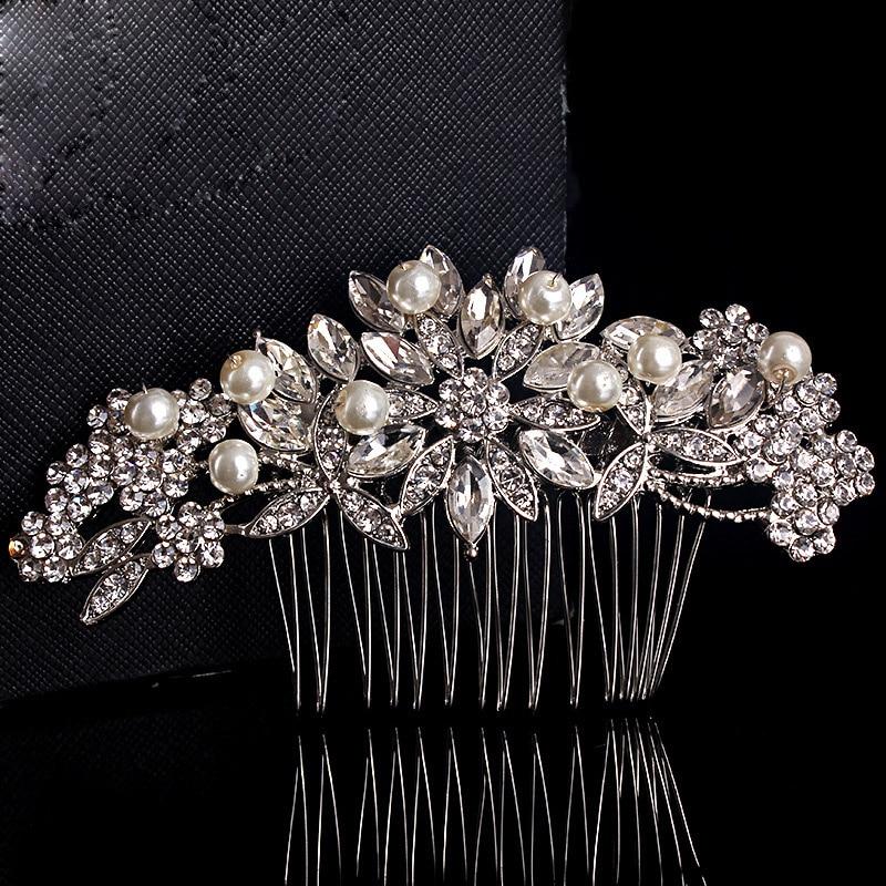 SLBRIDAL Hot Selling Rhinestones Crystals Pearls Flower Leaf Wedding Hair Comb Bridal Hair Accessories Bridesmaids Women