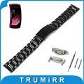18mm correa de reloj inteligente de liberación rápida + adaptadores para samsung gear fit 2 sm-r360 venda de reloj de pulsera de acero inoxidable pulsera de la correa