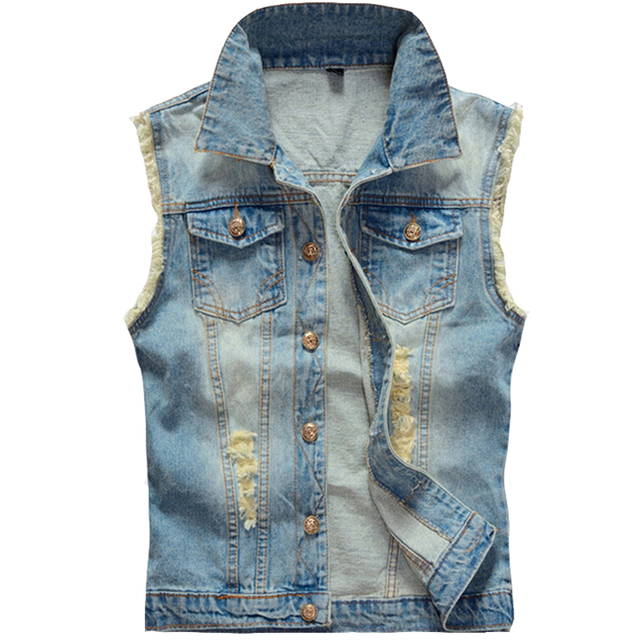Light Blue Big Size Ripped Vintage Cowboy Waistcoat Washed Male Sleeveless Jean Jacket Men Denim Vest 5XL 6XL Plus Size
