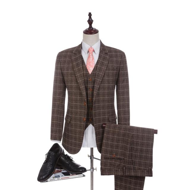 New Arrival Damier Check Fabrics Wedding Suit 2018 Business Brown For Men Groom Tuxedos Groomsman
