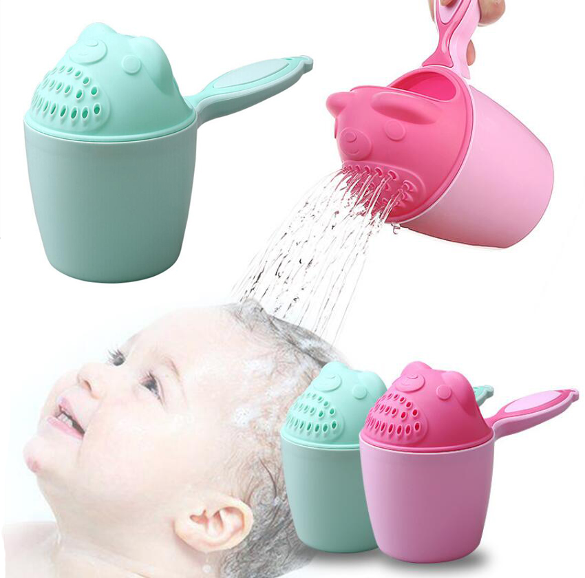 Cartoon Baby Bath Caps Baby Shampoo Cup Children Bathing Bailer Baby Shower Spoons Child Washing Hair Cup Kids bath tool image