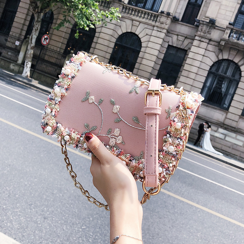 Lace Flowers Women Bag 2018 New Handbag High Quality PU Leather Sweet Girl Square Bag Flower Pearl Chain Shoulder Messenger Bag