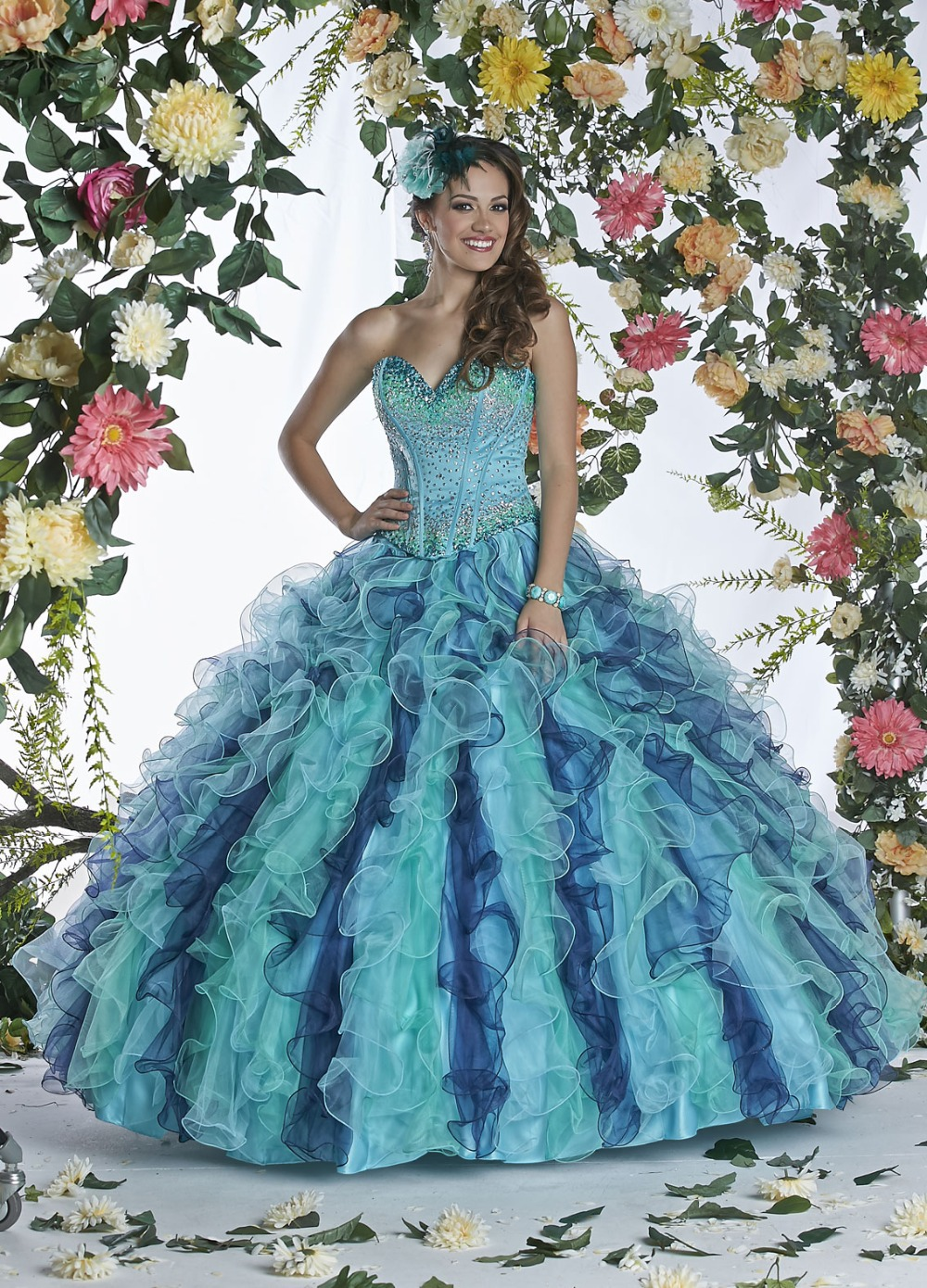 2016 New Sexy Beading Jacket Mix Color Quinceanera Dresses Ball ...