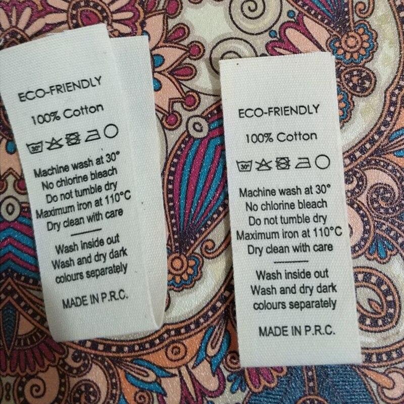 1000pcs loop fold Beige cotton ribbon cloth label print care label 2 5 13 1 cm