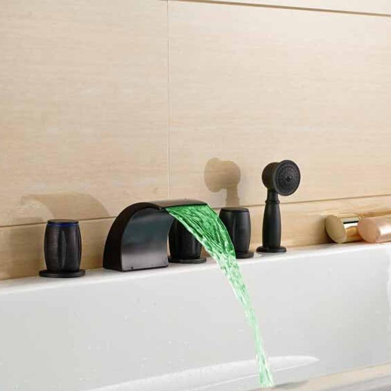 Waterfall LED Bathroom Tub Faucet 3 Handles Oil Rubbed Bronze Bath Shower Mixer Tap