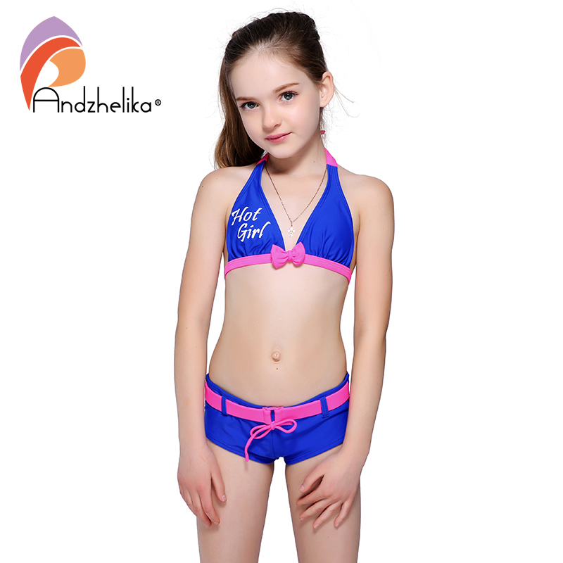 Andzhelika Bikini Girls Swimsuit Child Cute Bow Bikini Patchwork Sports For Girls Swimwear Children Bathing Suit Beach Kid Swim