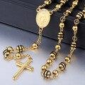 6/8mm Ouro Preto Cadeia de Talão de Aço Inoxidável SilverTone Jesus Cristo Pingente Cruz Rosário Colar Das Mulheres Dos Homens de Jóias LKN434