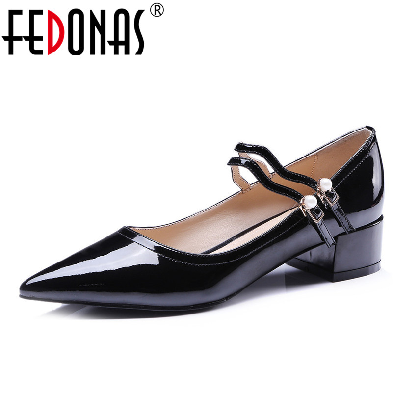 FEDONAS New 2018 Women Mary Jane Pumps Fashion Pointed Toe Patent Genuine Leather Stiletto High Heels Wedding Shoes Woman цена