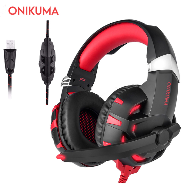 ONIKUMA K2 USB 7.1 Surround Sound Version Game Gaming Headphone Computer Headset Earphone Headband with Microphone LED Light