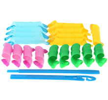 18pcs/set Creative Magic Hair Curlers Rollers Curling Iron Wand Twist Spiral Circle with 2 Stick Hooks Hair Styling DIY Tools