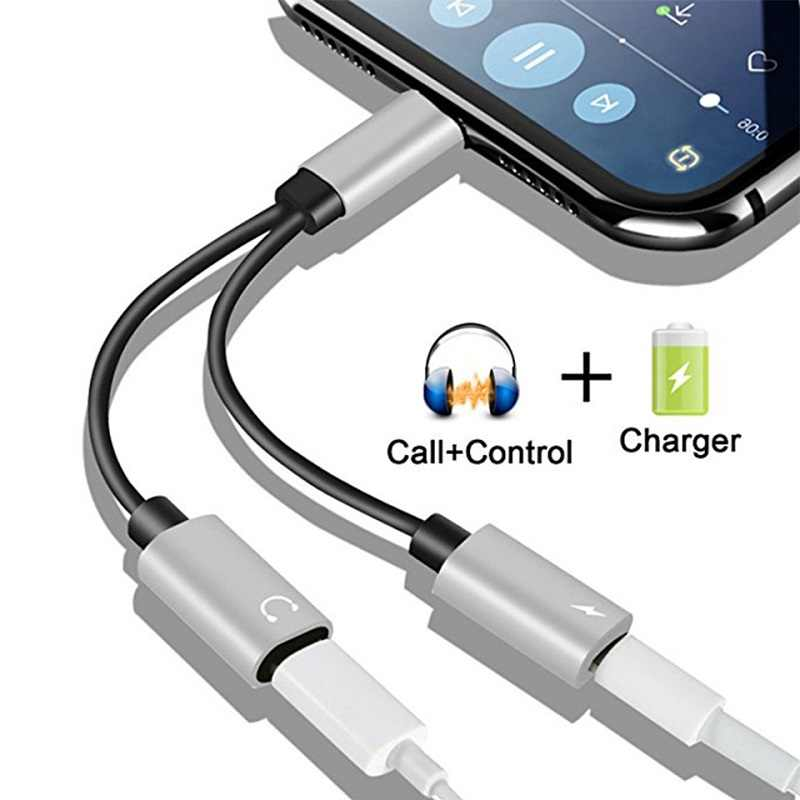 Para iPhone 7 plus 2 en 1 Adaptador de auriculares para iPhone X/8/8 plus Cable de carga de teléfono Audio adaptador de carga divisor cables