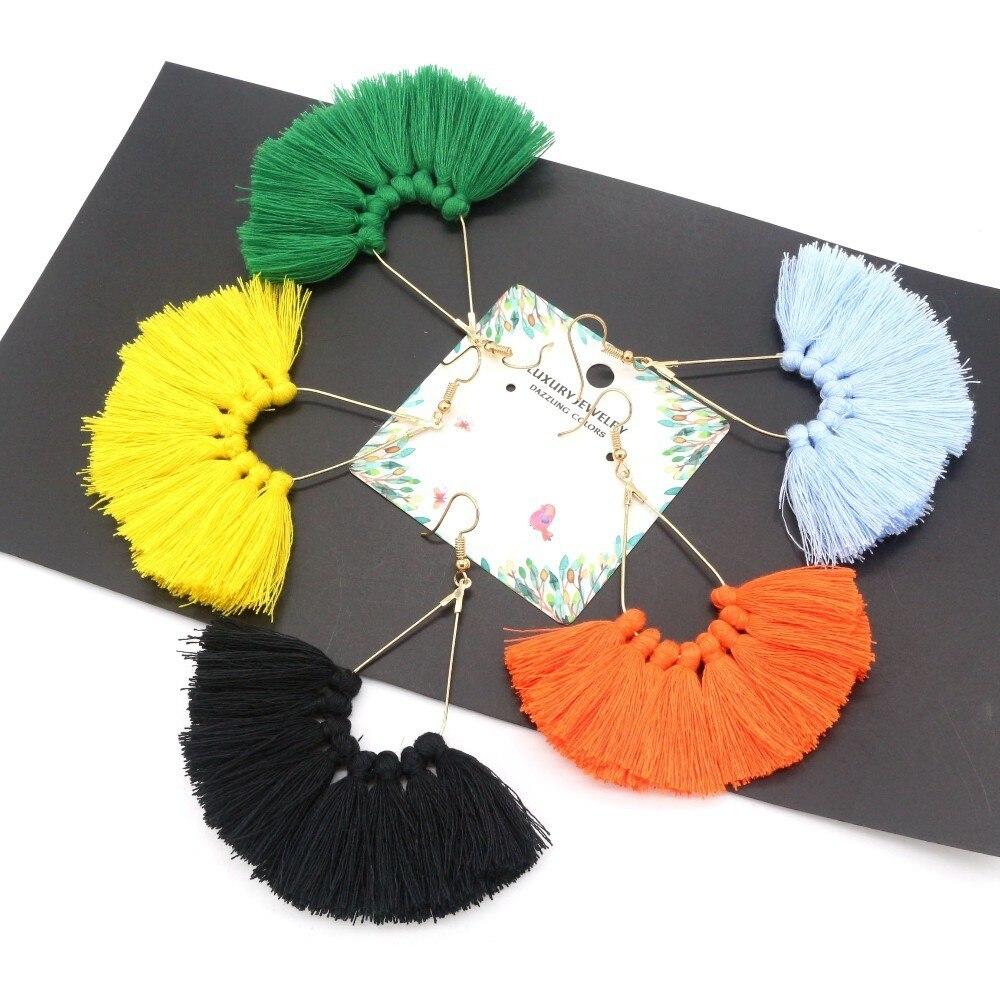 Classic Tassel Earrings For Women 2018 Statement Yellow Earrings Female Fashion Jewelry Handmade Bohemia Oorbellen