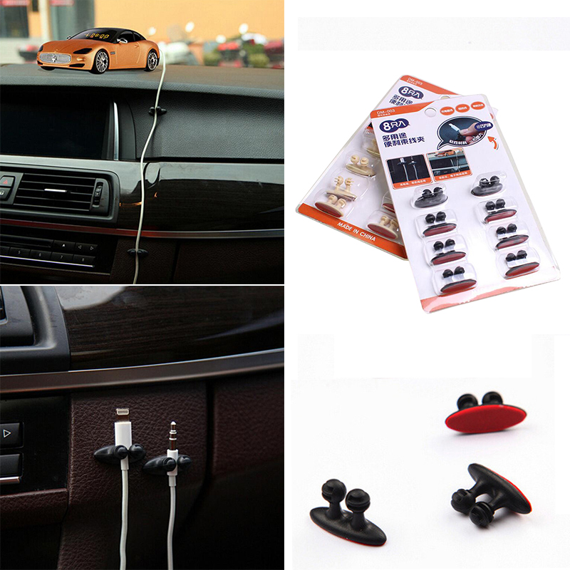 8Pcs Lot Car Wire Cable Holder Tie Clip Fixer Organizer Adhesive Car Charger Line Clasp Clamp USB Cable Car Clip Accessories New