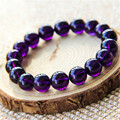 13mm Genuine Natural Deep Purple Amethyst Quartz Stretch Bracelet For Women Femme Charm Transparent Crystal Round Beads Bracelet