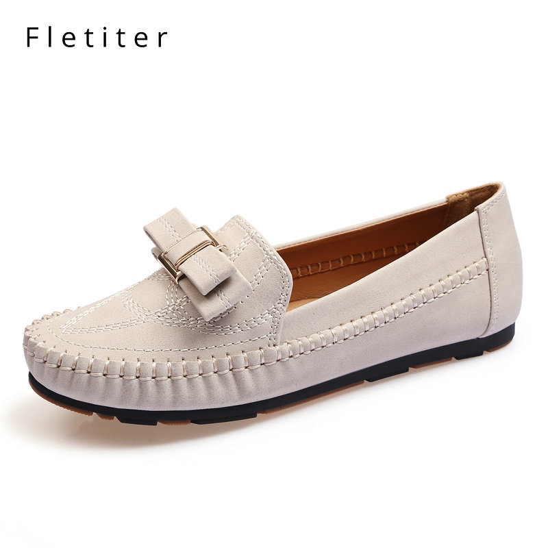Women Slip On Loafers Strappy Beads Square Toe Suede 2018 Spring Mid Heels Shoes