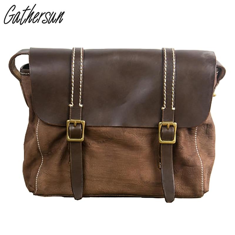 2017 새로운 도착 제한 Gathersun 브랜드 손수 만든 머리 레이어 쇠가죽 채찍으로 복고풍 여성 싱글 숄더 가방, 고품질 경사 가방