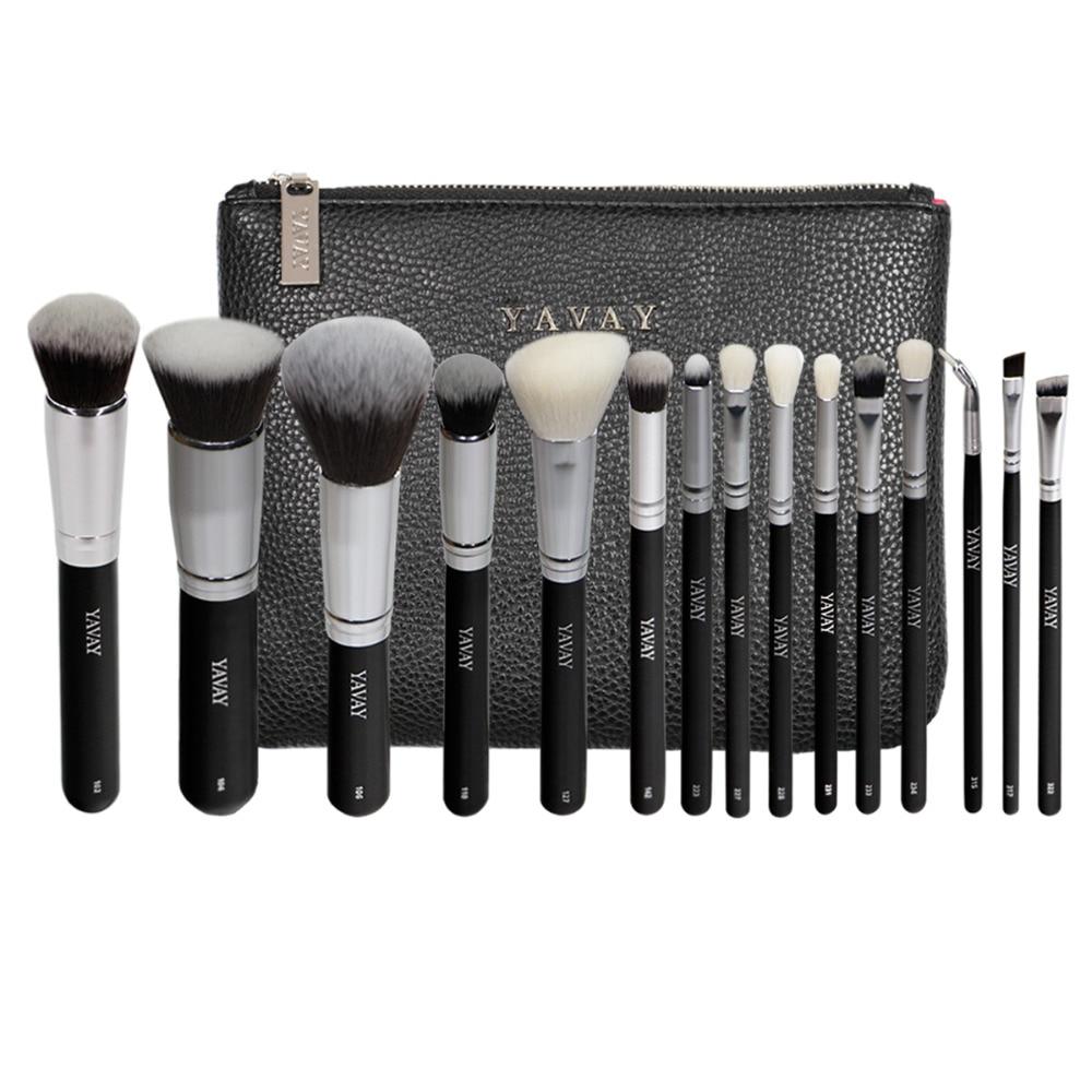 YAVAY Brand 15 PCS Makeup Brush Set Professional Make Up Beauty Blush Foundation Contour Powder Cosmetics Makeup Brushes Y15A цена