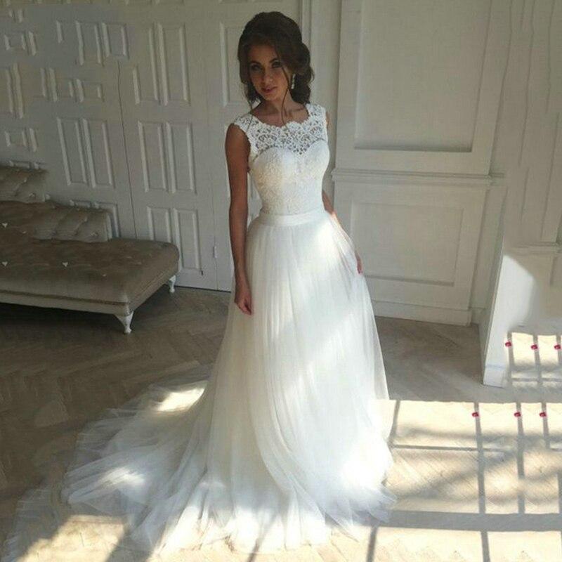 Nouvelle dentelle o-cou dentelle Tulle Boho pas cher robes de mariée d'été plage robe de mariée bohème robes de mariée robe de mariage