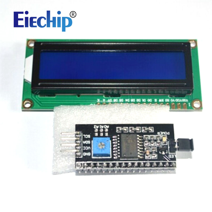 1602 16x2 HD44780 Character LCD /w IIC/I2C Serial Interface Adapter Module