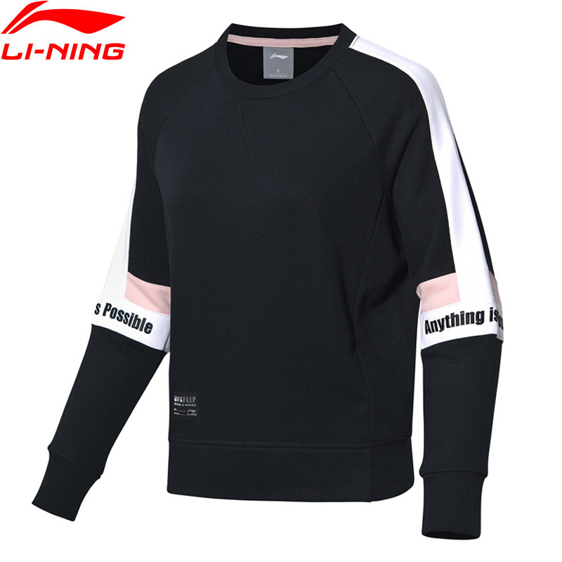 Li-Ning Women The Trend Sweater Loose Fit 88% Cotton 12% Polyester Hit-Color Patchwork LiNing Sports Hoodie AWDP084 WWW1027