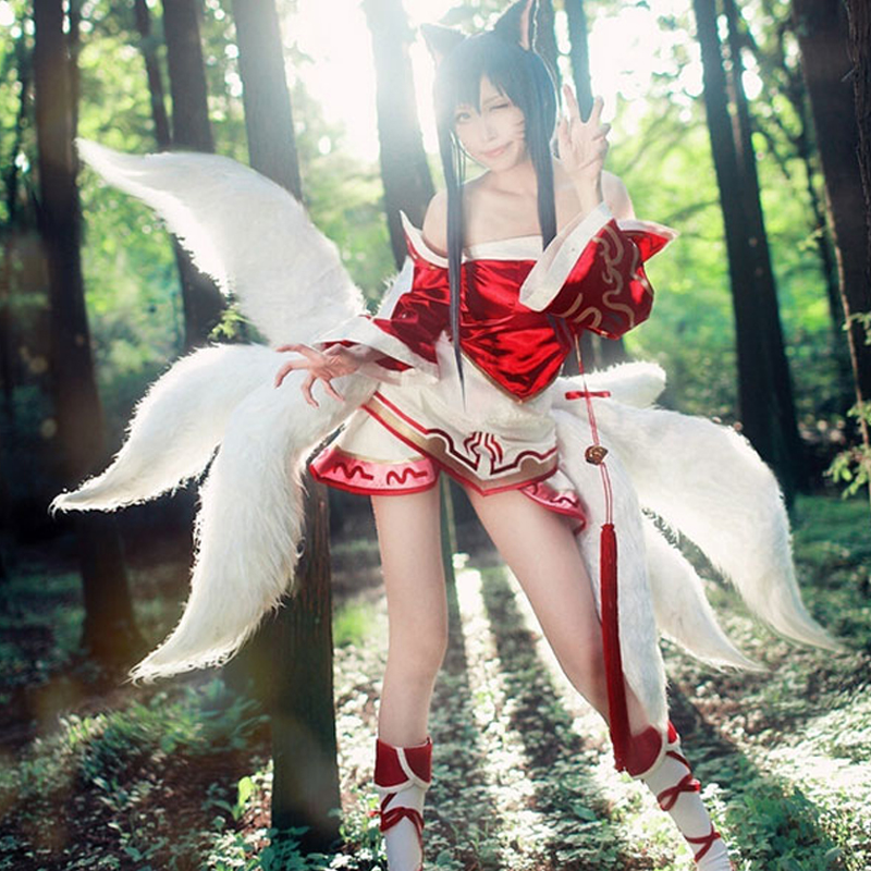 2017 Sexy Fox LOL Ahri Tail Dynasty Ahri Nine Tailed Lol Cosplay Costumes Adult Women Anime Halloween Carnival Cosplay Costumes