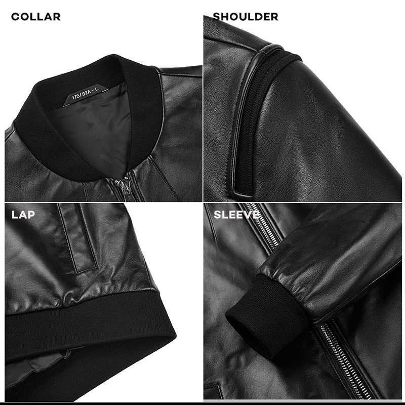 Seven7 marka prawdziwej skóry kurtka mężczyźni dla motocykli prawdziwe kożuch stanąć kołnierz Slim Fit zima Autum mody płaszcz męski