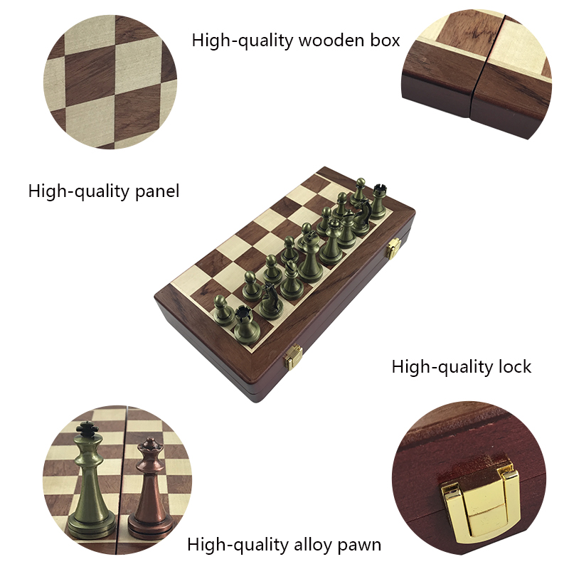 Yernea High end Wooden Folding Chessboard Retro Metal Alloy Chess Pieces Chess Game Set 30 30 2 7cm Chessboard Friends Gift in Chess Sets from Sports Entertainment