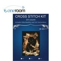 Cat Play Money Bills Cash Counted Cross Stitch 14CT Cross Stitch Sets Wholesale Cartoon Cross Stitch