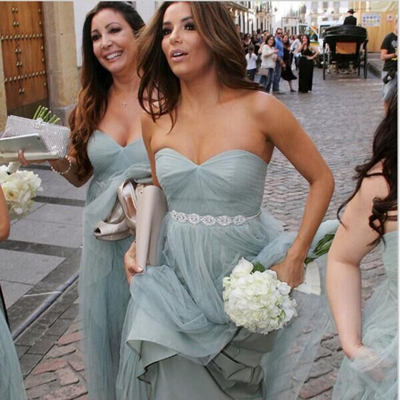 Blue Grey Bridesmaid Dresses Long Chiffon Strapless A Line Floor Length Lace Belt Plus Size Maid Of Honor For Weddings In From