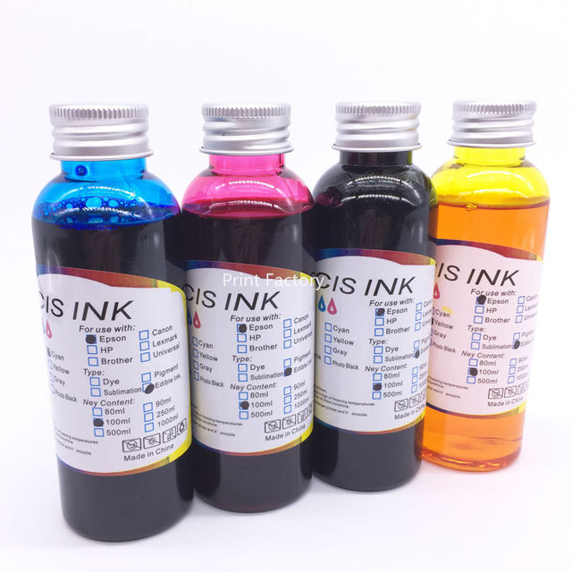 US $22.29 20% OFF|100ML x 4 Color Printer T1171 T0732N T0734N Food Edible  Ink For Epson T23 T24 TX105 TX115 BK M Y C-in Ink Refill Kits from Computer  ...