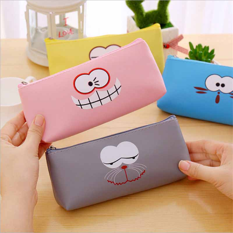 New Creative Women Cartoon Cosmetic Bag Leather Zipper Makeup Bag Cute Girl Travel Storage Emoji Make Up Organizer Bag for Child