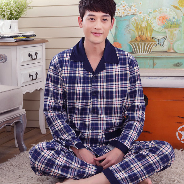 Long-sleeved cotton men's spring and autumn pajamas suit tracksuit cotton knit cardigan big yards