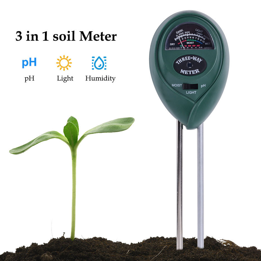 цена на Instrument Tool 3 in 1 Soil PH Water Moisture Mter Acidity Humidity Sunlight Garden Plants Flowers Moist Tester
