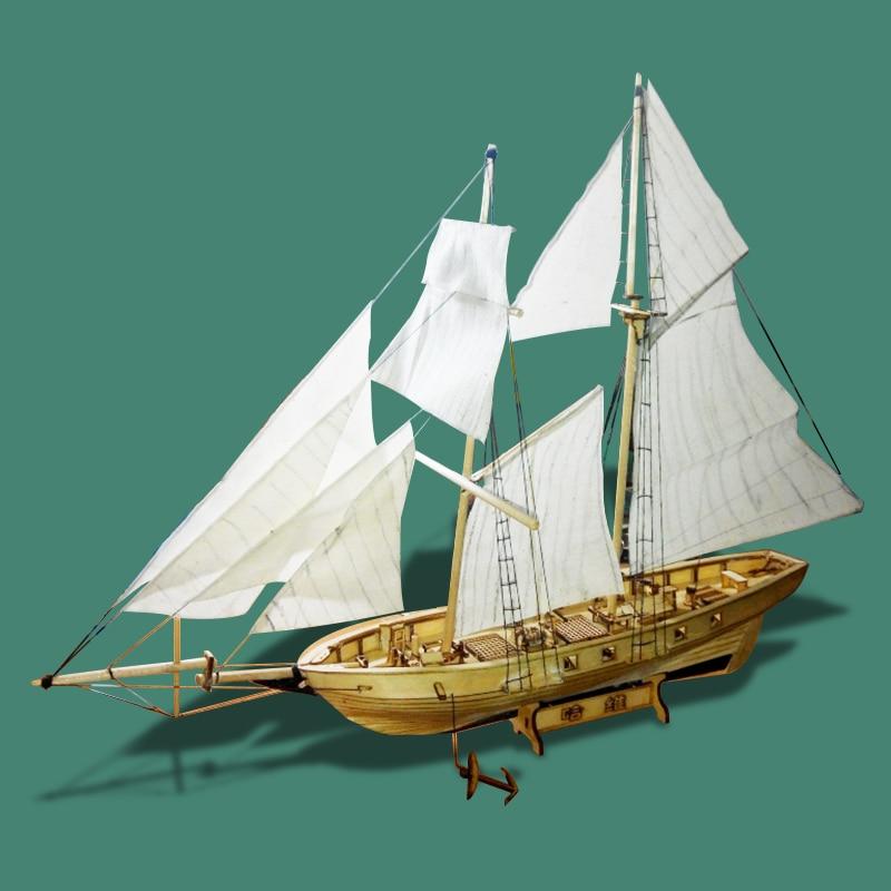 Free shipping 1/130 Scale Wooden Sailboat HARVEY 1847 Model Ship laser cut boat Wooden Ship Model Educational Toy DIY ship model