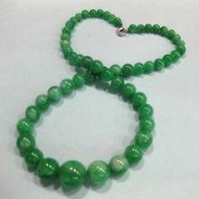 Дизайн китайский классический 6-14 мм зеленый нефрит ожерелье