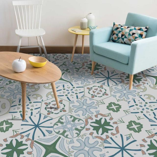 Retro Style Patterned Floor and Wall Stickers Set