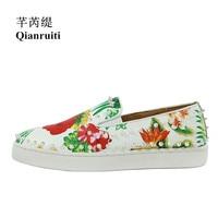 Qianruiti 2019 Spring Men Floral Slip on Sneakers Italy Street Shoes Men Rivet Split Leather Men Vulcanized shoes EU39 EU46