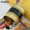 Danfosi Elegent Black and White oil-spot glaze Open Alloy Vintage Cuff Bangles Statement Jewelry Indian Bracelet Bangles