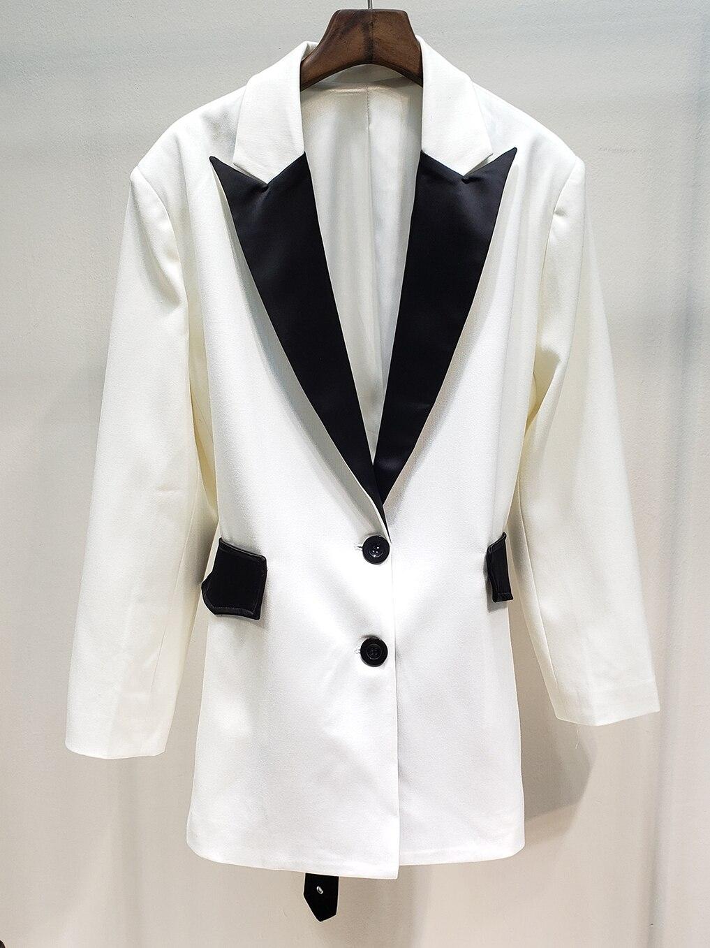 Couleur Lâche Unique Down Blanc Et Blazers Vestes 2019 White Col Noir Printemps Hit Femmes Turn Poitrine xqzvwT8X