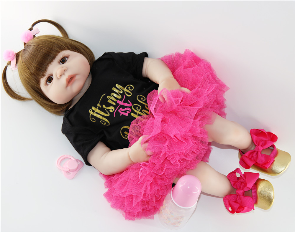 """NPK doll reborn full silicone reborn baby girl dolls 23""""57cm  Bebes reborn corpo de silicone inteiro child gift toy doll-in Dolls from Toys & Hobbies    2"""
